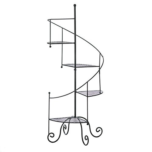 Tall Plant Stand, Black Modern Rustic Tiered Spiral Showcase Metal Plant Stands