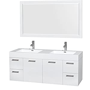 Wyndham collection amare 60 inch double bathroom vanity in glossy white acrylic resin for 58 inch double bathroom vanity