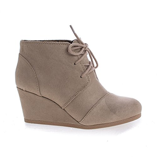soda rex Lace up Oxford Ankle Bootie ( Lt Taupe Imsu) (10) ()