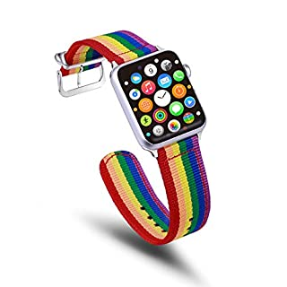TinaWood Rainbow LGBT Wristband Watch Strap Comfortable Denim Fabric Replacement Band Compatible for Apple Watch iWatch Series 4/3/2/1(Rainbow, 38MM/40MM)