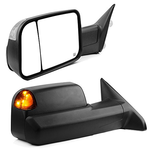 YITAMOTOR Towing Mirrors Compatible for Dodge Ram, Tow Mirrors with Power Heated LED Turn Signal Light Puddle Lamp, for 2009-2017 Dodge Ram 1500, 2010-2017 Ram 2500 3500 ()
