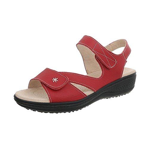 Ital Para Lbs6296 Mujer Plano Sandalias Zapatos Hebilla Rojo con Design Vestir de Sandalias rUwAr
