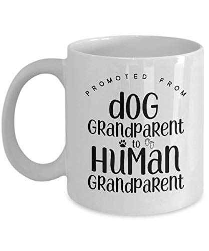 Pregnancy announcement grandparents, Baby announcement to grandparents, Dog to Human grandparent, Grandfather Grandmother reveal best gifts idea Coffee mugs tea cup Promoted MG1555 (11oz)