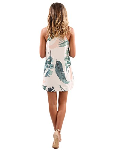H Sleeveless Flower White Women's Jelly Casual Mini Style Floral Printed Blooming Neck Dress gnEPxvwqf