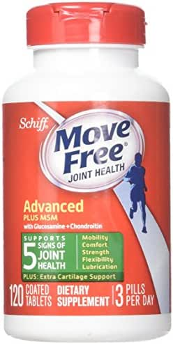 Move Free Advanced Plus MSM, 120 tablets - Joint Health Supplement with Glucosamine and Chondroitin (Pack of 3)