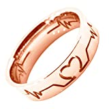 WDSHOW Rose Gold Plated Stainless Steel Heartbeat Design Rings