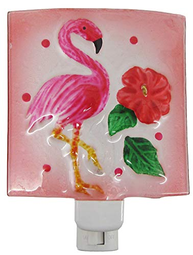 Chesapeake Pink Flamingo with Hibiscus Flower Night Light Painted Glass Electric
