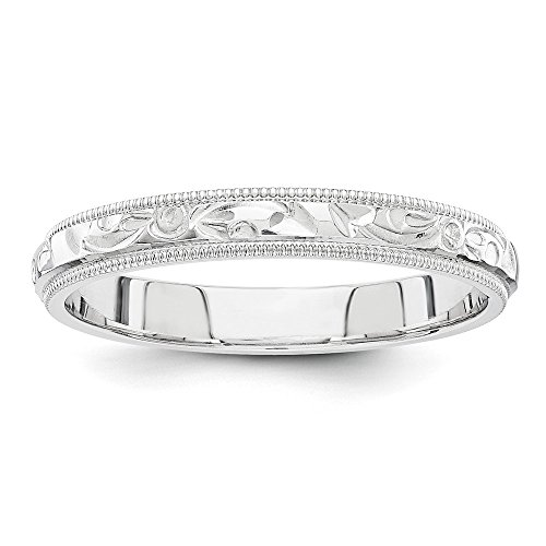 Hand Engraved Wedding Band - 14k White Gold hand engraved wedding band Size 5