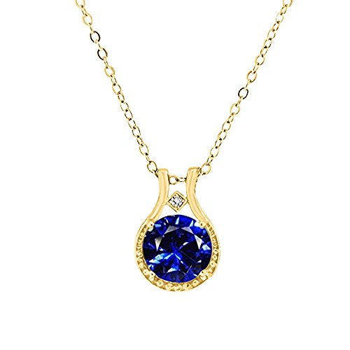 14k Yellow Gold over Sterling Silver Genuine Diamond and Simulated Sapphire Halo Pendant, 3.00 ctw,18'' (Diamond Pendant White Gold Jewelry)