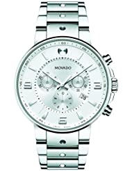 Movado Mens 0606760 SE. Pilot Stainless Steel Case and Bracelet Silver Chrono Dial Watch