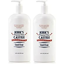 Kirk's Castile Liquid Soap (Pack of 2) with Coconut Oil, Aloe Leaf Juice, and Matricaria Flower Extract, 16 oz.