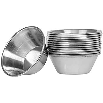 b72b69805140 (12 Pack) Small Sauce Cups 1.5-Ounce, Commercial Grade Stainless Steel  Dipping Sauce Cups, Individual Condiment Sauce Cups / Ramekins by Tezzorio
