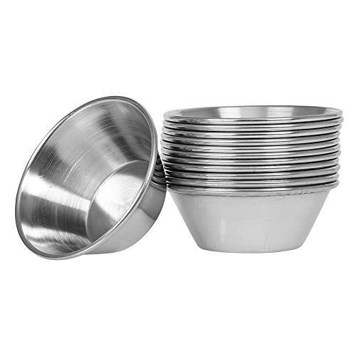(12 Pack) Small Sauce Cups 1.5-Ounce, Commercial Grade Stainless Steel Dipping Sauce Cups, Individual Condiment Sauce Cups / Ramekins by Tezzorio (Sauce Metal Cups)