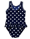 Pretty Princess Little Girls Polka Dots Swimwear Kids One-Piece Beachwear Holiday Swimming Costume (3-4 Years)