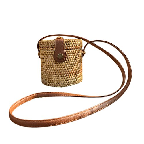 Yunhigh Round Woven Bag,Hand Woven Rattan Bag with Leather Strap Braided Women Crossbody Bag Chic Retro Summer Beach Shoulder Bag Boho Style - Cylinder Shape