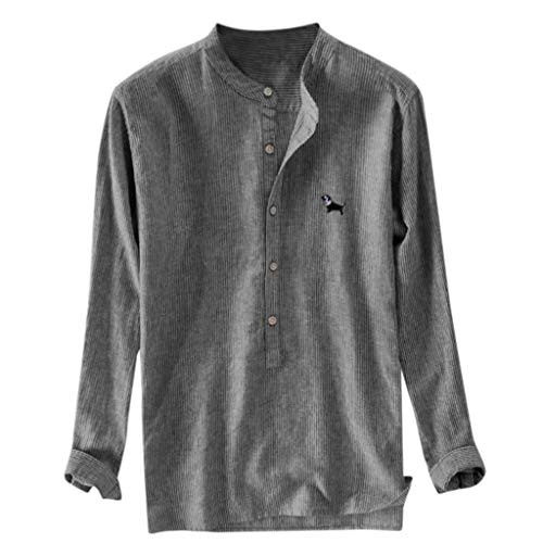 TUSANG Men Tees Baggy Stripe Embroidery Cotton Linen Long Sleeve Button Plus Size T Shirts Loose Fit Comfy Tunic(Dark Gray,US-10/CN-XL)