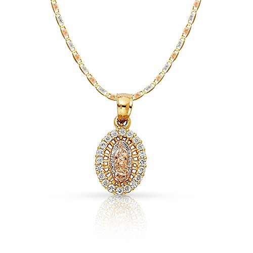 Ioka Jewelry - 14K Yellow Gold Religious Our Lady of Guadalupe Cubic Zirconia CZ Charm Pendant with 1.5mm Valentino Chain Necklace - 24""