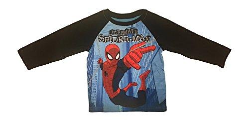 Marvel Ultimate Spider-Man Spiderman Boys' Toddler Costume Raglan Long Sleeve T Shirt Size 2T-4T (Black Spiderman Toddler Costumes)