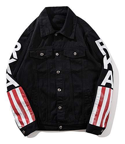 PIZOFF Mens Hipster Design Washed Distressed Rugged Wear Unlined USA Flag Fashion Denim Jacket