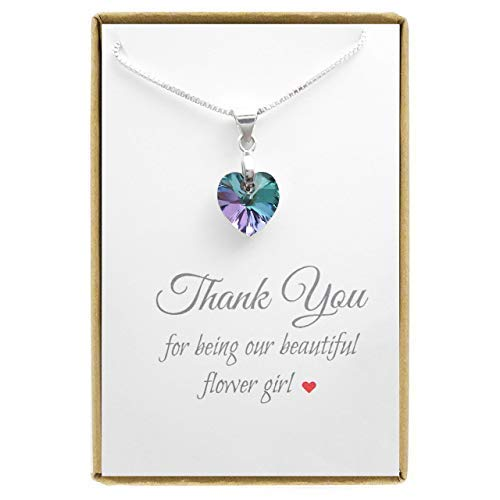 Tiny Purple Crystal Heart Necklace, Flower Girl Necklace, 14 inches + 2 inches extender -