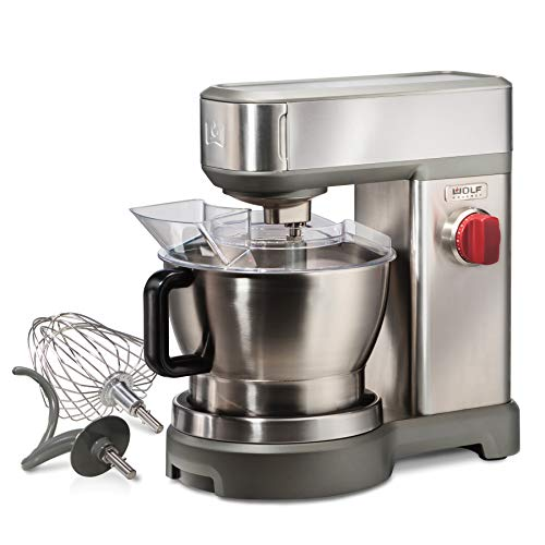 Wolf Gourmet High-Performance Stand Mixer, 7 qrt, with Flat Beater, Dough Hook and Whisk, Brushed Stainless Steel…