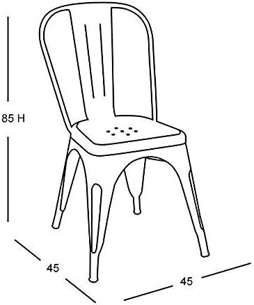 Fleda TRADING Chaise en métal de Style Industriel-Chic Package DE 2 Pieces Tolix Design Mat Chocolat