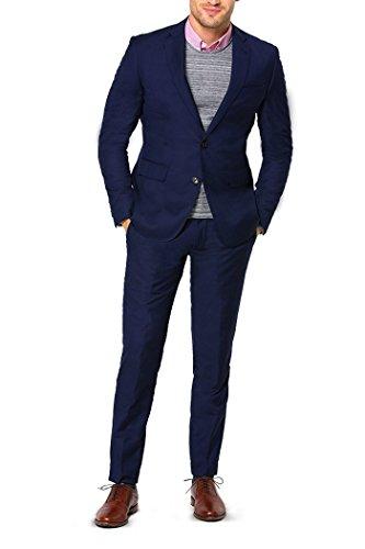 MA Men's Suit 2-Piece Slim Fit Blazer Jacket Flat Front P...