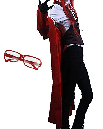 TOKYO-T Black Butler Cosplay Grell Sutcliff Full Costume (S) with Eyeglasses