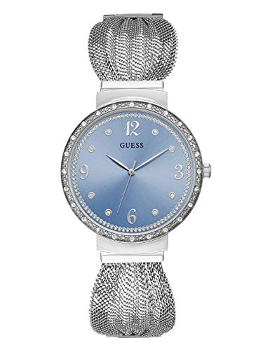 GUESS  Crystal Accented Stainless Steel Mesh Bracelet Watch with Sky Blue Dial. Color: Silver-Tone (Model: U1083L4)