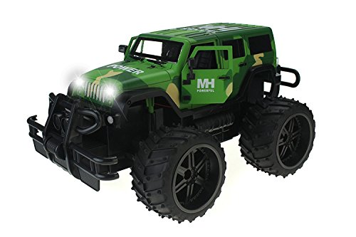 Jeep Wrangler Army Camo Cross Country 1:14 Scale Battery Operated Remote Controlled 4WD 2.4 GHz Toy Jeep RC Truck w/ Remote Control,& Door Opening Action ()