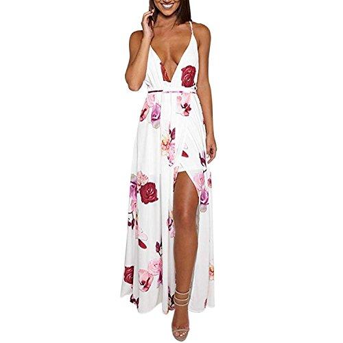 Sunward Boho Floral Spaghetti Strap Summer Beach Party Split Cover Up Dress S-XXL (XL, White) by Sunward