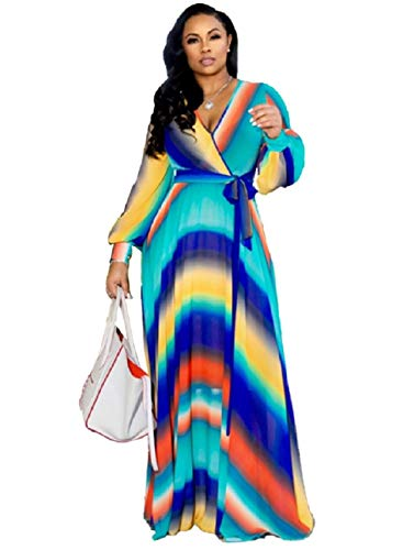 Dora's Womens See-Through Deep V Neck Printed Floral Maxi Dress Lining Dresses Hem High Waisted Plus Size