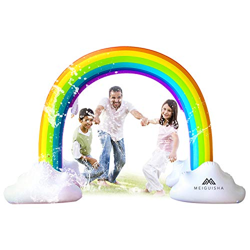 MeiGuiSha Inflatable Rainbow Yard Summer Sprinkler Toy, Over 6 Feet Long, Perfect for Summer Toy List (Rainbow Kids Toys)