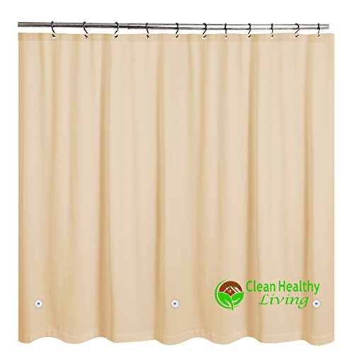 Heavy Duty PEVA Shower Liner / Curtain: Odorless & Anti Mold (with Magnets & Suction Cups). It's 70 x 71 in. long and Heavy Weight - Tan Color (Shower Curtain Liners Colored)