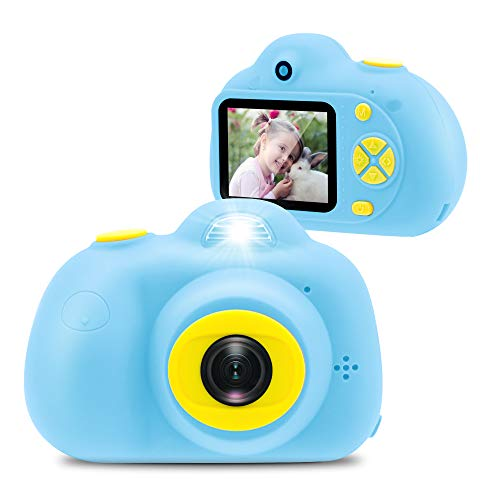 [16GB Memory Card Included] Veroyi Kids Camera 8.0MP Rechargeable Digital Front and Rear Selfie Camera Child Camcorder, Toys Gift for 4-10 Years Old Boys and Girls (Blue)