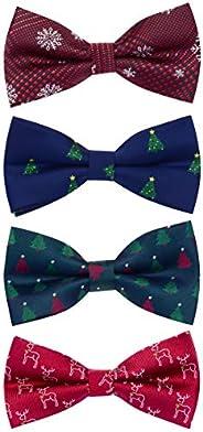 GUSLESON 4PCS Men's Christmas Bow tie Festival Theme Bowties Pre-Tied Neckwear Snow Tree Pat