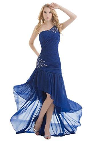 bis Shoulder mit niedrig GEORGE BRIDE Deckleisten Abendkleid Chiffon ein hoch Sexy Blau wqBOX