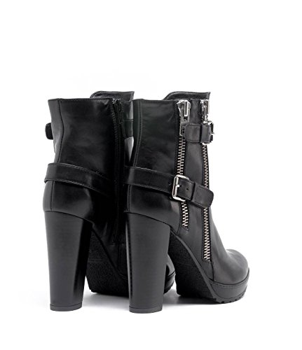 Ankle PoiLei from Shoes Block Platform Round high Design Leather and Women's Heel Black Boot Zipper Special Made Jule Toe Smooth and Buckle IrgqI