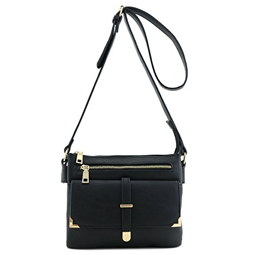 Flap Pocket Crossbody Bag Black (Cross Body Flap Bag)
