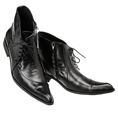 Cover Plus Fashion Genuine Black Leather Lace Up Pointed Formal Dress Ankle Boots Mens Shoes (US Size - Delivery Free Australia To