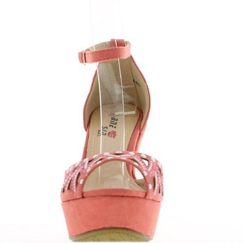 Sandales compensées corail à talons de 11,5cm et plateau de 3,5cm