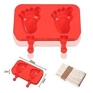 Molde de silicona para hacer paletas de hielo, helado, helado, gelatina, chocolate Foot Red6: Amazon.es: Hogar