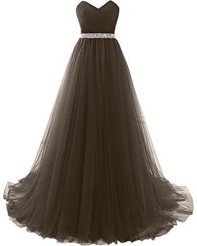 Abiballkleider Lang linie Partykleider Abendkleider Milano Braun Herzausschnitt Promkleider Damen A Tuell Weinrot Bride w6FqxSZ