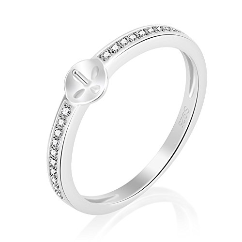 LGSY 925 Sterling Silver Cubic Zirconia Ring Settings For pearls Beautiful Jewelry For Women Sizes (Mount 925 Silver Ring Setting)
