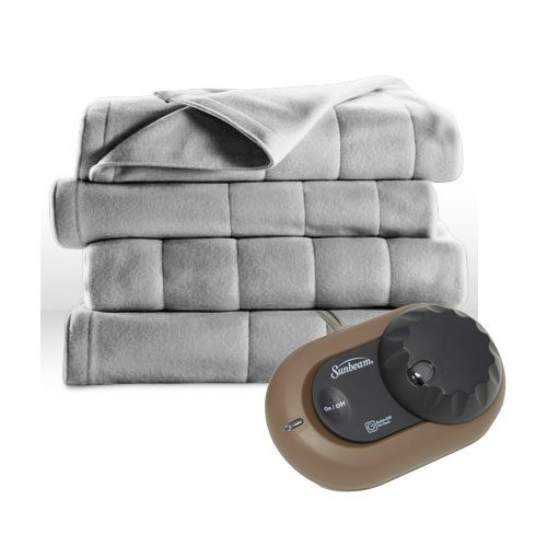Sunbeam Heated Electric Blanket Royal Dreams Quilted Fleece Twin Misty Grey (Sunbeam Royal compare prices)