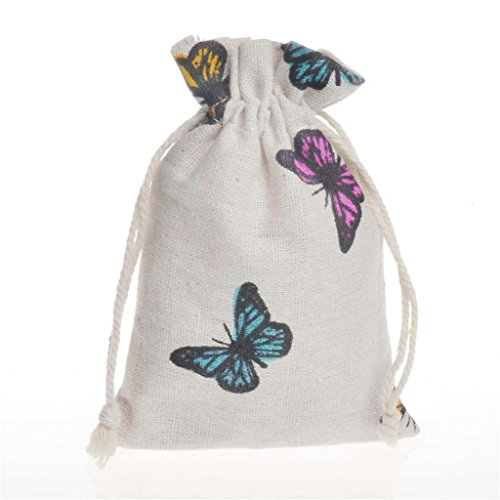 Pack of 12 Butterfly Burlap Drawstring Gift Bags for Party Wedding Favors Giveaways, Cotton Linen Candy Pouch Jute Sack Jewelry Bag (Butterfly Party Favors)
