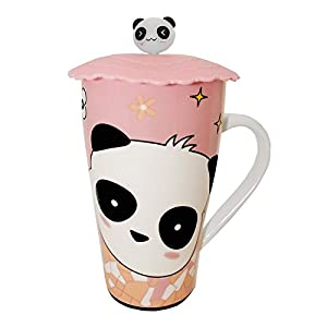 Happy Sales HSEMT-PD2, Eco Travel Ceramic Mug, Teacups, Tumbler with Lid, Random Panda Design