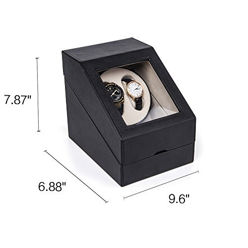 HEZALA Double Watch Winder Box for Rolex Automatic Watches with 3 Storages and Quiet Mabuchi Motor, Black
