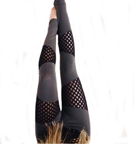 Fengtre Women's Black Mesh High Waist Breathable Elastic Active Workout Yoga Pant Leggings Capri