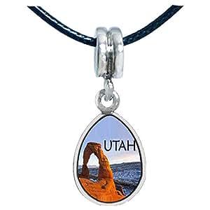 Chicforest Silver Plated Travel Utah Photo Angel Tears Charm Beads Fits Pandora Chamilia Biagi Charm Bracelet